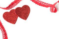 Coeurs, ruban, Saint-Valentin Photo libre de droits