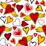 Coeurs sans couture de griffonnage sur le fond blanc Photographie stock libre de droits