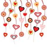 Coeurs sur des ficelles Images libres de droits