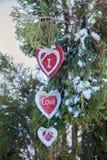 Coeurs sur l'arbre de Noël, neige, hiver, jour du ` s de Valentine en parc Photos stock