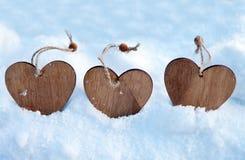 Coeurs sur l'arbre de Noël, neige, hiver, jour du ` s de Valentine en parc Photographie stock libre de droits