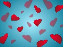 Coeurs sur le bleu Photographie stock libre de droits