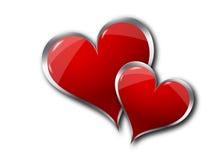 Coeurs sur le fond blanc Images libres de droits