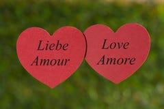 Coeurs sur le fond vert, amour Photo libre de droits