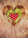 Coeurs sur le papier brun Photo libre de droits