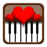 Coeurs sur le piano illustration stock