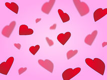 Coeurs sur le rose Photo stock