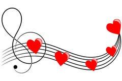 Coeurs sur les barres musicales Photo libre de droits