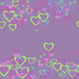 Coeurs sur un fond pourpre Photo stock