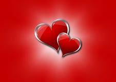 Coeurs sur un fond rouge illustration libre de droits