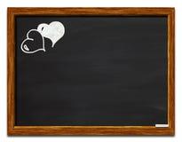 Coeurs sur un tableau noir images libres de droits