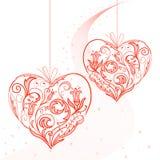 Coeurs sur une chaîne de caractères Images libres de droits