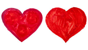 Coeurs tirés par la main d'aquarelle Photos stock