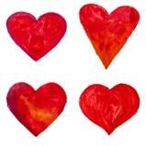Coeurs tirés par la main d'aquarelle Photo libre de droits