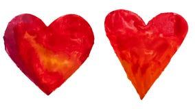 Coeurs tirés par la main d'aquarelle Image stock