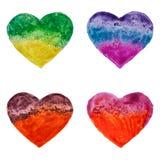 Coeurs tirés par la main d'aquarelle Photo stock