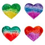 Coeurs tirés par la main d'aquarelle Images libres de droits