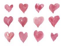 Coeurs tirés par la main d'aquarelle pour la conception, le fond et le textile Illustration d'isolement artistique Photo libre de droits