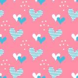 Coeurs tirés par la main et modèle sans couture de vecteur de points Image stock