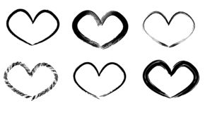 Coeurs tirés par la main réglés Aimez le symbole avec la peinture sèche de brosse, d'isolement image libre de droits
