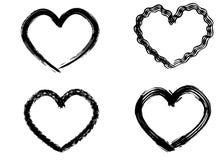 Coeurs tirés par la main réglés Aimez le symbole avec la peinture sèche de brosse, d'isolement photographie stock libre de droits