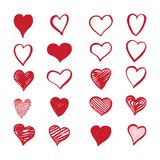Coeurs tirés par la main sur un fond blanc Images libres de droits