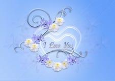 Coeurs transparents avec le bleu de bigorneau et asters sur un fond bleu Photographie stock