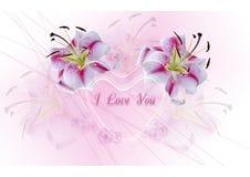 Coeurs transparents avec les lis blancs sur un fond rose Photo libre de droits