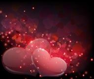 Coeurs transparents sur le fond de pétillement Photo libre de droits
