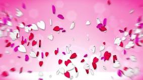 Coeurs volant sur le fond rouge Sucrerie rouge et blanche Animation de boucle de Saint-Valentin illustration stock