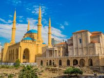 Coexistence of religions in Lebanon. Saint George Maronite Greek Orthodox Cathedral and the Mohammad Al-Amin Mosque in Beirut, Lebanon Stock Image