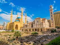 Coexistence of religions in Lebanon. Saint George Maronite Greek Orthodox Cathedral and the Mohammad Al-Amin Mosque in Beirut, Lebanon Stock Images