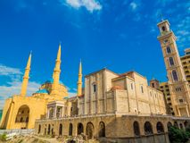 Coexistence of religions in Lebanon. Saint George Maronite Greek Orthodox Cathedral and the Mohammad Al-Amin Mosque in Beirut, Lebanon Stock Photos