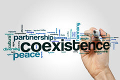 Coexistence word cloud concept on grey background Royalty Free Stock Image
