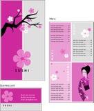 菜单和cof的名片模板设计  免版税库存图片