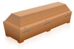Cofanetto di legno della bara illustrazione di stock