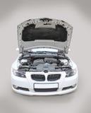 Cofano di BMW 335i aperto Immagine Stock Libera da Diritti