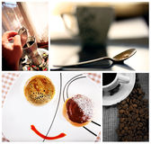 Cofe collage. Home made coffee and breackfast conceptual collage from several image Stock Photography