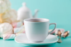 Cofe cup and pile sweet pastel colored marshmall Stock Images