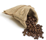 Cofee beans in a bag isolated. On white background stock photo