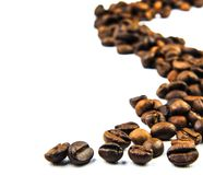 Cofee beans trace. On white background stock photos