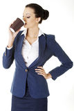 Cofee brake in rush day. Business woman drinking cofee or tea from paper cup stock photo
