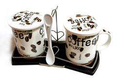 cofee coffee cups spoon Στοκ φωτογραφίες με δικαίωμα ελεύθερης χρήσης