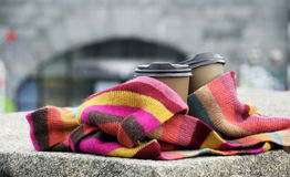 Coffee in color scarf. Two cups of coffe in colorful scarf Royalty Free Stock Photography