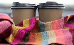 Coffee in color scarf Stock Photography