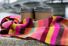 Coffee in color scarf. Two cups of coffe in colorful scarf Royalty Free Stock Photos