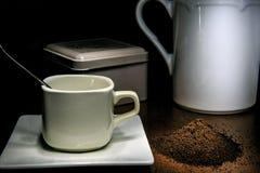 Cofee cup of cofee and cofee grain.  stock photos