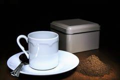 Cofee cup of cofee and cofee grain.  stock photography