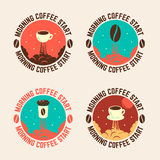 Cofee cup launch emblems. Set of cofee cup launch emblems. Morning cofee start Royalty Free Stock Photos