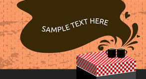 Cofee cups. Two coffee cups at a table, in front of a brick wall. Vector illustration. Speech balloon, space for text vector illustration